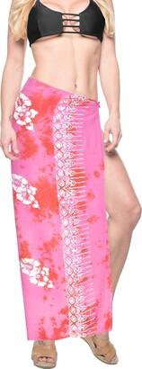 LA LEELA Swimwear Skirt Soft Coverup Rayon Hibiscus Pair Sarong 78X43 Inch Blood Red_U780