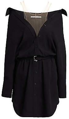 Alexander Wang Women's Off-The-Shoulder Belted Wool Shirtdress