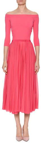 Alexander McQueen Off-the-Shoulder Belted Plisse Pleated Tea-Length Dress