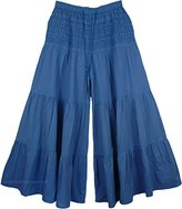 """TLB - Cotton Palazzo Pants with Elastic Waist - L:38.5""""; W:28""""-36"""""""