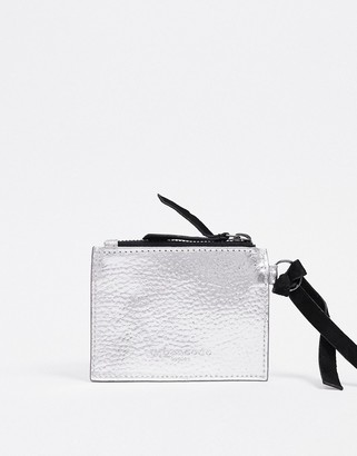 Urban Code Urbancode leather mini purse with card holder in silver