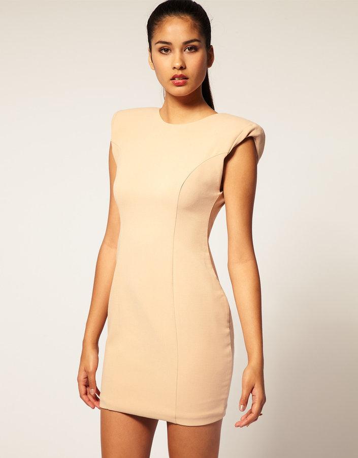 Aqua Parnassus Shoulder Pad Panelled Low Back Dress