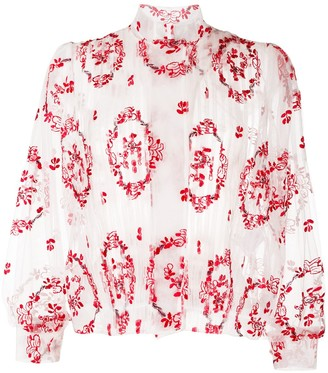 Simone Rocha Embroidered High-Neck Blouse