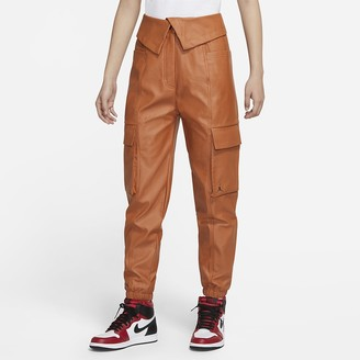 Nike Women's Faux Leather Utility Pants Jordan Court-To-Runway