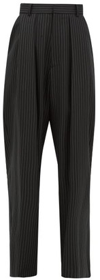 Edward Crutchley Pleated Pinstripe Wool-twill Wide-leg Trousers - Womens - Black