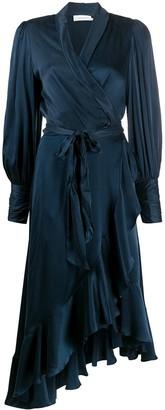 Zimmermann Balloon Sleeve Wrap Silk Dress