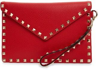 Valentino Medium Rockstud Leather Envelope Pouch