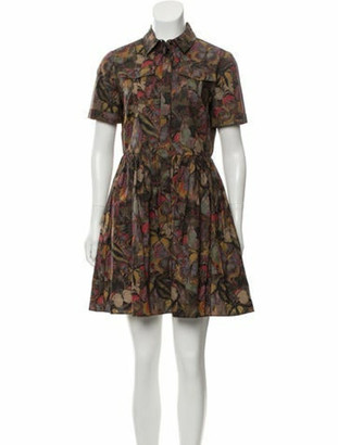 Valentino Printed Short Sleeve Mini Dress Brown