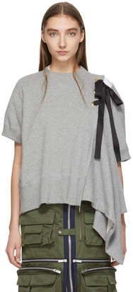 Sacai Grey Lace-Up Sweatshirt