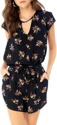 Saltwater Luxe Floral Blouse w cutout front & tie back