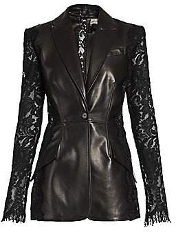 Alexander McQueen Women's Lace Sleeve Leather Blazer