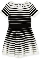 Milly Minis Short-Sleeve Striped Knit Circle Dress, Black/White, Size 8-14