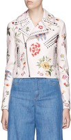 Alice + Olivia 'Cody' floral embroidered leather biker jacket