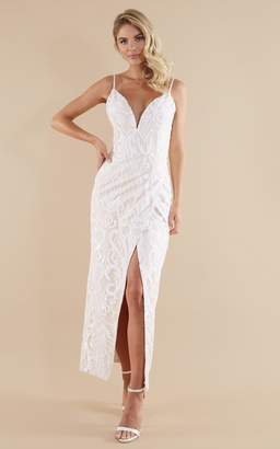 Showpo This is love gown in white sequin - 4 (XXS) Bridal Gowns