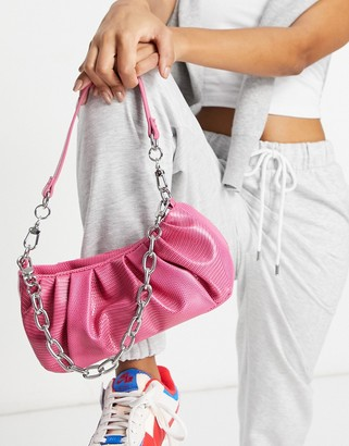 ASOS DESIGN ruched slouchy shoulder bag with detachable chain strap in pink lizard