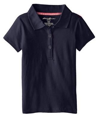 Eddie Bauer Girls 4-16 School Uniform Short Sleeve Stretch Jersey Polo Shirt