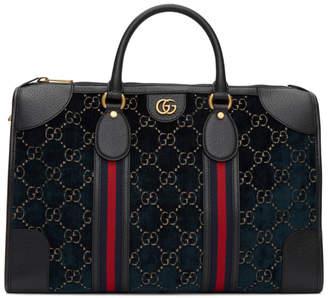 Gucci Navy Velvet GG Duffle Bag