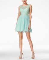 As U Wish Juniors' Lace Illusion A-Line Dress