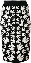 Alexander McQueen swallow jacquard pencil skirt - women - Polyamide/Polyester/Spandex/Elastane/Viscose - XS