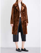 Drome Ladies Dark Sand Glamour Contrast Double-Breasted Reversible Shearling And Leather Coat