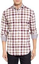 Thomas Dean Men's Classic Fit Dobby Plaid Sport Shirt