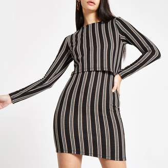 River Island Womens Brown stripe long sleeve bodycon mini dress