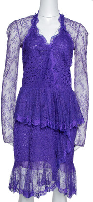 Roberto Cavalli Purple Lace Ruffled Peplum Dress M