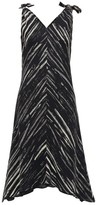 Proenza Schouler White Label - Tie-shoulder Paint-print Crepe Dress - Womens - Black White