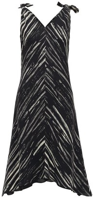 Proenza Schouler White Label Tie-shoulder Paint-print Crepe Dress - Black White