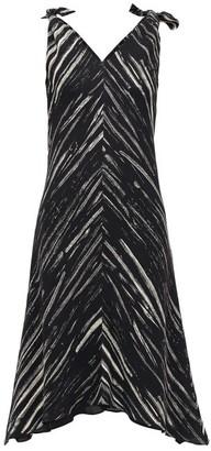 Proenza Schouler White Label Tie-shoulder Paint-print Crepe Dress - Womens - Black White