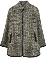 Wool-blend tweed cape