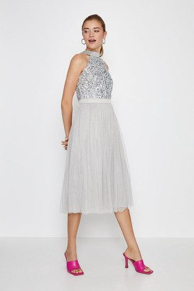 Coast Sequin Bodice Halter Midi Dress
