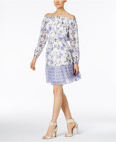ECI Mixed-Print Off-The-Shoulder Peasant Dress