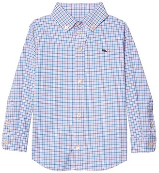 Vineyard Vines Kids Check Plaid OTG Performance Woven Shirt (Toddler/Little Kids/Big Kids) (Cotton Candy) Boy's Clothing