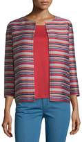 Lafayette 148 New York Alejandra Bracelet-Sleeve Striped Jacket, Red Rock/Multi