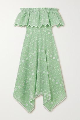 Charo Ruiz Ibiza Khadi Off-the-shoulder Broderie Anglaise Cotton-blend Midi Dress - Green