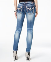 Miss Me Medium Wash Embroidered Faded Skinny Jeans