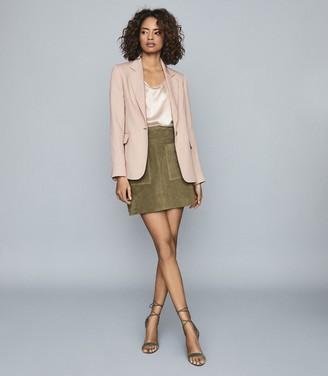 Reiss LANA Textured Tailored Blazer Pale Pink