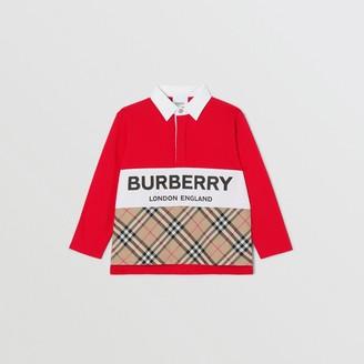 Burberry Childrens Long-sleeve Logo Print Vintage Check Panel Polo Shirt