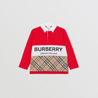 Burberry Long-sleeve Logo Print Vintage Check Panel Polo Shirt