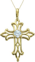 JCPenney FINE JEWELRY Genuine Aquamarine 10K Yellow Gold Cross Pendant Necklace