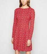 New Look Floral Spot Soft Touch Skater Dress