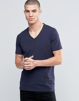 Selected Deep V Neck Navy T-Shirt