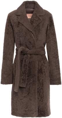 Yves Salomon Belted Shearling Coat