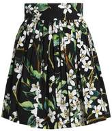 Dolce & Gabbana Pleated Floral-Print Cotton Mini Skirt