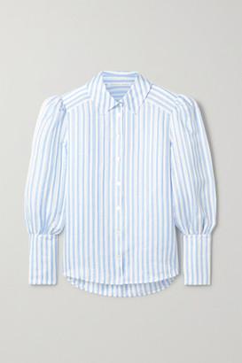 Veronica Beard Ally Striped Linen, Silk And Modal-blend Blouse - Light blue