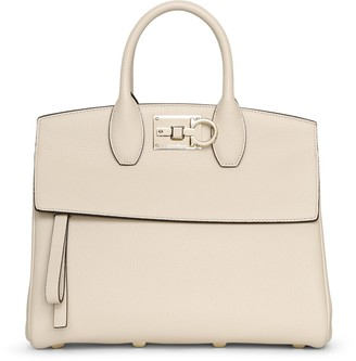 Salvatore Ferragamo The Studio Small off white leather bag