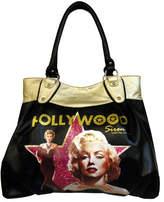 Monroe Women's Marilyn Forever Beautiful Hollywood Siren Bag MM1014 - Black Tote Bags