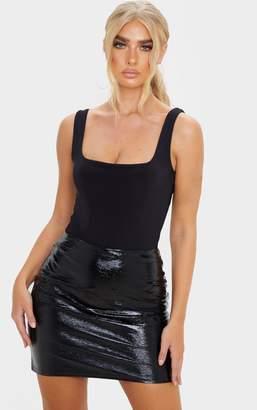 Lily Black Textured Vinyl Mini Skirt