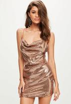 Missguided Gold Sequin Strappy Cowl Bodycon Dress, Pink
